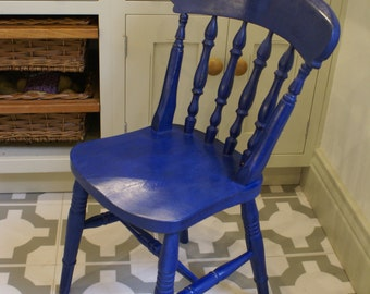 Free UK delivery - Hand painted farmhouse chairs Napoleonic Blue (custom colour available)