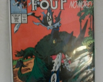 1990 The Fantastic Four #345  Fantastic Four Back To Prehistoric Era  VF-NM Vintage Marvel Comic Book