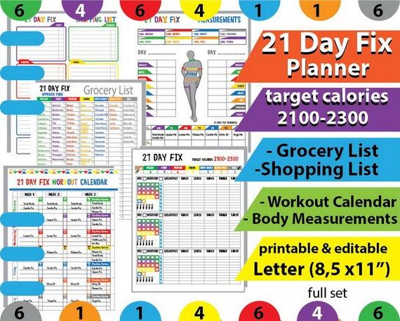 21 Day Fix Tracker, Workout Calendar, 21 Day Fix Beachbody Planner, 21 ...