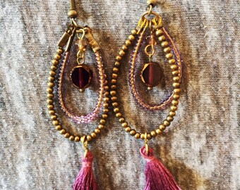 GOLD PURPLE EARRINGS, Mexican Jewerly