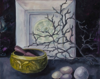 Still life with singing bowl, Original oil painting, hand painted stillife, oil painting, custom decorative wall art painting on canvas