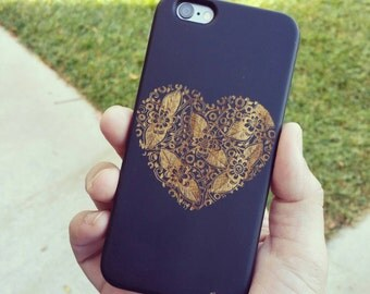 Genuine Wood Cell phone Case with Floral Heart Tangled Laser Engraving for iPhone 5/S, 6/S and 6 plus IP-010