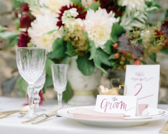 Modern calligraphy wedding place cards place names