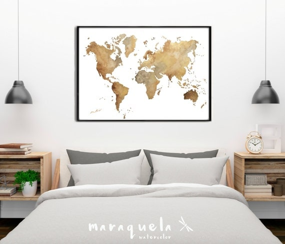 World map Brown hues. Large Wall Art Print Watercolor Poster Gift Home Decor Birthday gift for her. Wedding gift. Handmade.Mapa mundi