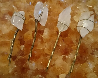 Dogtooth Quartz Crystal Hair Pins