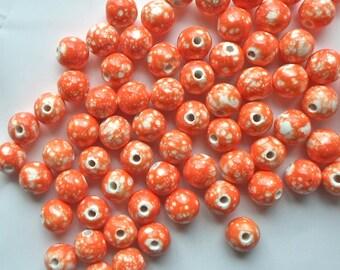 20 x Orange & White Gorgeous Paint Splattered Round Porcelain Ceramic Beads 12mm  P19
