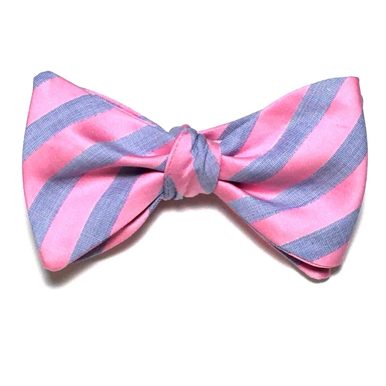 bow tie custom stripes pink handmade handcrafted