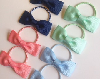 Pair of Pigtail Hair Bow Bobbles - hair accessories, small hair bow bobbles, toddler hair bows