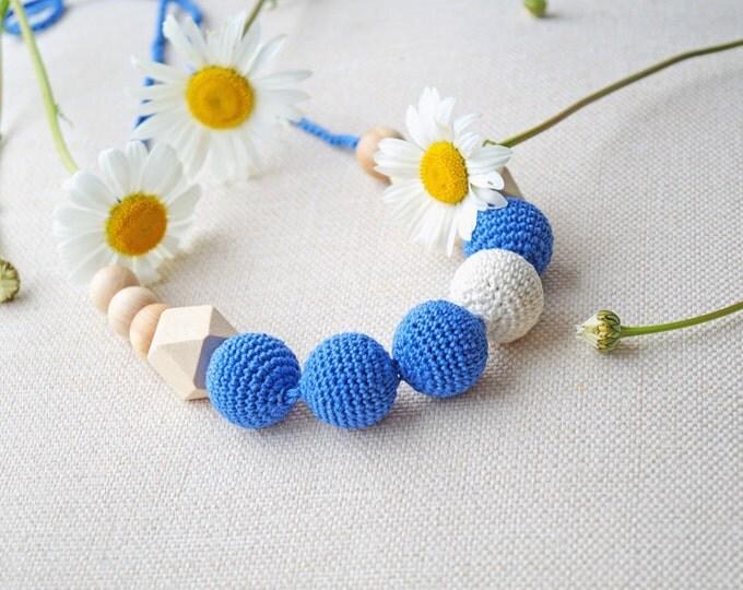 Teething necklace / Nursing necklace / Babywearing necklace - Blue simphony