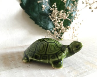 Vintage Miniature Green Galzed Ceramic Turtle Totem Figure Desk Plant Friend Itty Bitty Little Small Gift