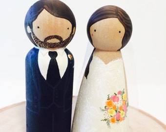 Personalized Wedding Cake Toppers / Wooden Peg Dolls Bride and Groom