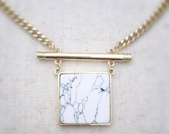 White marble necklace, white marble jewelry, white howlite necklace, white howlite jewelry, geometric necklace