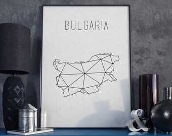 Bulgaria map Bulgaria art Bulgaria print Geometric art Scandinavian style  Minimalist art Bulgaria wall art Bulgaria gift for birthday