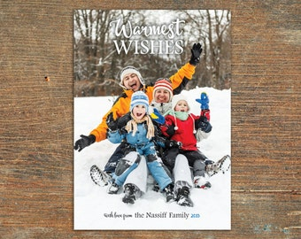 Warmest Wishes, Winter Holiday Card, Customizable, Printable