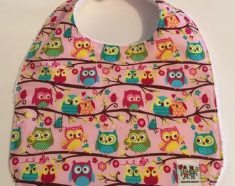 MAUD & MABEL - Handmade Baby Bib - Owls      **On Sale**