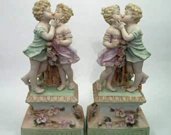 """2 Rare Matching Kalk Hand Painted Porcelain Figurines """"The Kiss"""" 12"""" High"""