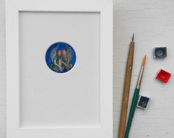 Original art print, guardian angels, gift baptism, childrens room, gift twins, print angel, unique birth gift,baptism art, twin sister gift