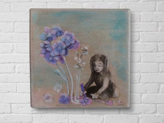 Acrylic painting on canvas : Myosotis ,