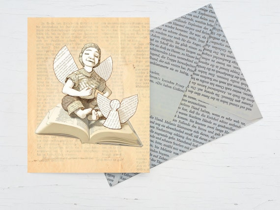 Birthday card for bookworms, card guardian angels, handmade  envelope book pages, folded card bookworm, book voucher, angel for booklovers