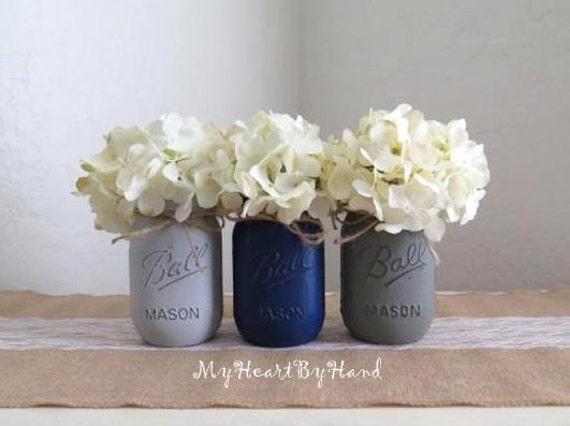 rustic mason jars rustic home decor painted mason jars blue and