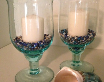 Set of two handblown glass goblets