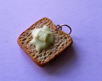 Polymer Clay Buttered Toast Charm or Necklace