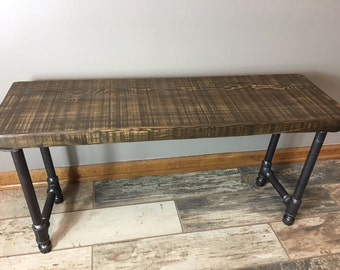 ustic Reclaimed Urban Wood Bench - Endurovar Finish - Industrial Gasp Pipe Leg base - Fast Shipping