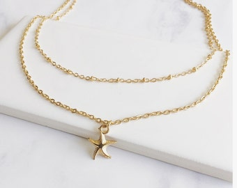 Layered Necklace, Summer Necklace, Dainty Necklace, Tiny Sea Star Necklace