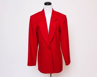 Vtg 80s Red Boyfriend Sports Business Blazer Jacket L/XL
