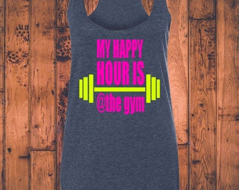 Happy Hour at the gym - Women's Racerback Triblend Tank in Black, Grey or Navy with Neon Pink and Yellow vinyl graphic S-XL