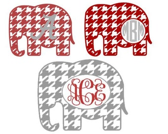 Houndstooth Elephant Monogram Set SVG, Studio 3, DXF, EPS, ps and pdf Cutting Files for Electronic Cutting Machines