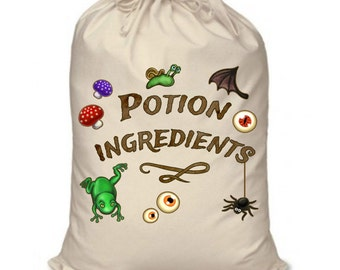Potion Ingredients medium drawstring bag (46cm x 60cm) - Natural