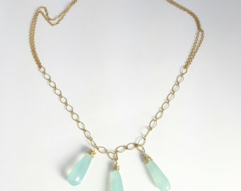 Carribean blue chalcedony necklace