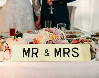 Mr & Mrs embossed wedding sign - personalised colour and text available