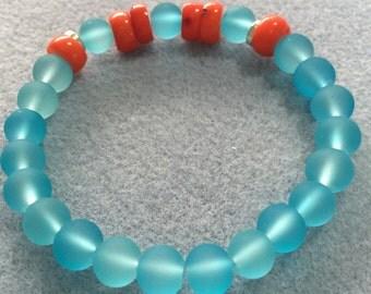 Coral and Aqua bracelet