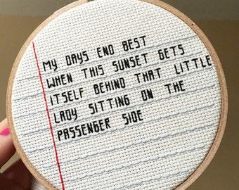 Arctic Monkeys embroidery hoop art - cross stitch