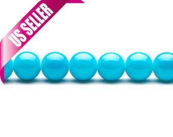 turquoise blue pearls 4-16mm solid-tone glass beads