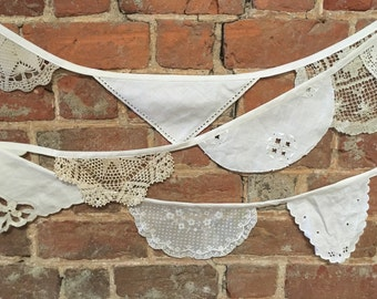 SALE! Vintage Doily Bunting, Wedding Bunting, Christening Bunting, Vintage Tea Party, Garden Party, Wedding Garland, Doily Banner, 3 Yards