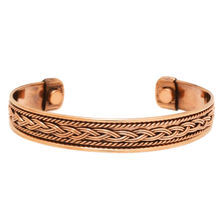 Copper Cuff Bracelet Magnetic Copper Cuff with Braided Copper