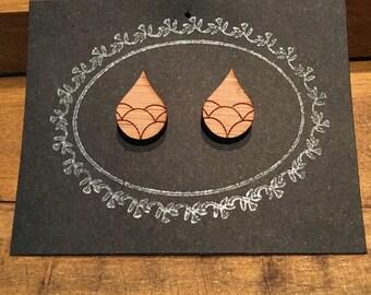Laser Cut Bamboo 'Bubble Rain Drop' Stud Earrings