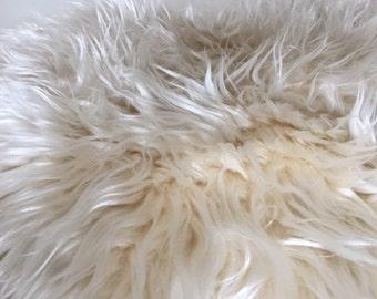IVORY faux fur newborn photo prop flokati basket filler