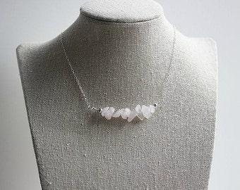 Pink Rose Quartz Bar Necklace-Rose Quartz Bar Gemstone Necklace-Rose Quartz Jewelry-Pink Bar Necklace-Sterling Silver-Pink Quartz