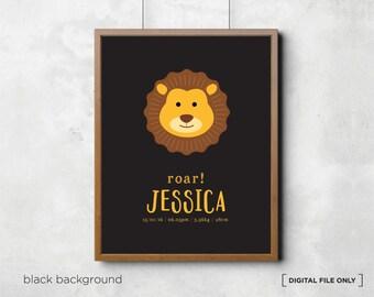 Lion birth print, nursery wall decor,  wall art, nursery wall art, birth announcement,birth detail print,name art,baby wall decor,birth stat