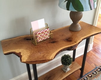 live edge entryway table console table sofa table rustic industrial mid century modern white oak wood