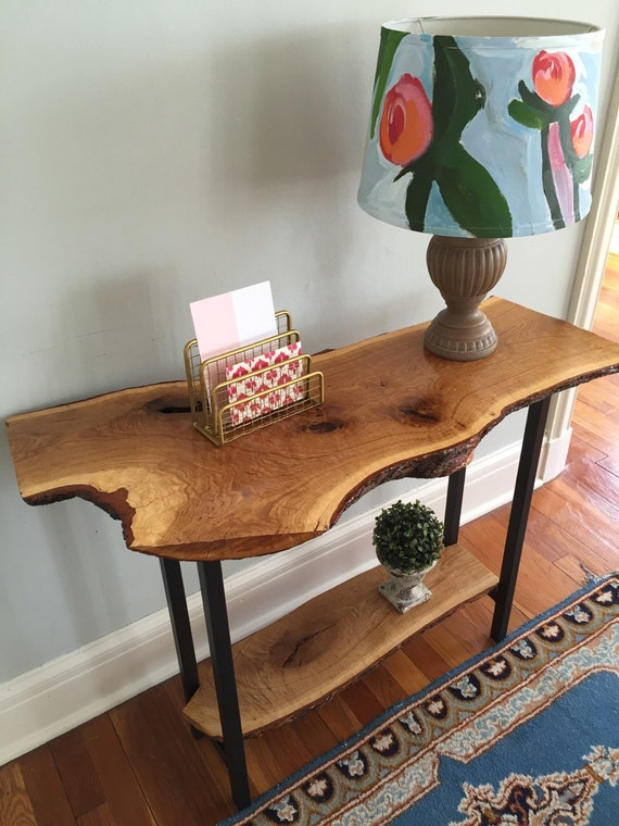 Live Edge Foyer Table : Live edge entryway table console sofa rustic