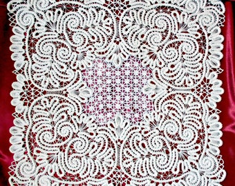 doily crocheted, Romanian lace,handmade lace,  white a doily, needle lace, handmade. Made to order.