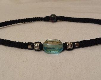 Black hemp choker with glass bead