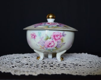 Lefton China Hand Painted Floral Flower Heritage footed trinket bowl 1950s 1960s - 6581