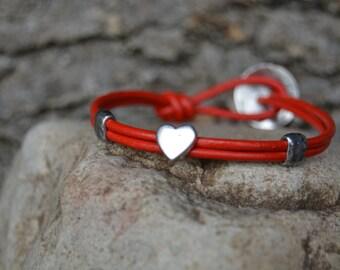 Red Leather Heart Bracelet