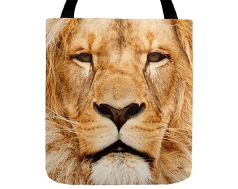 Lion Tote Bag, Wild Portrait, Jungle King, Animal Face Photography, African Style, Small, Medium, Large Size, 13x13, 16x16, 18x18, Totes